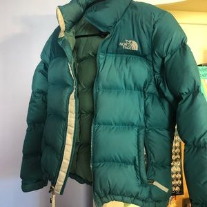 North Face puffer jacket blue/green